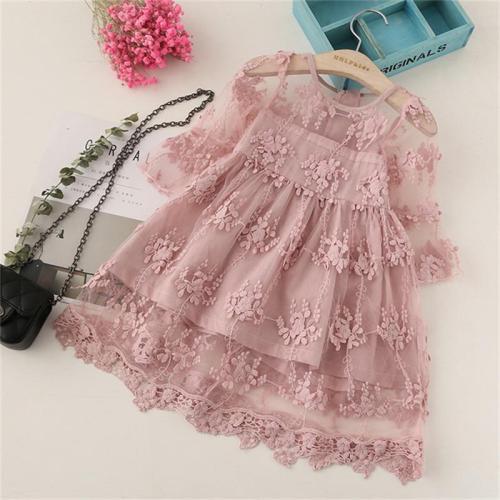 3-8 Years Autumn Kids Pink Long Sleeve Flower Girls Lace Dress