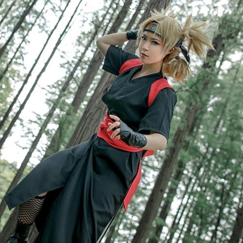 Temari From Naruto Halloween Black Kimono Cosplay Costume - B Edition