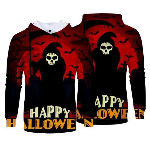 Halloween Horror Grim Reaper Print Hoodies