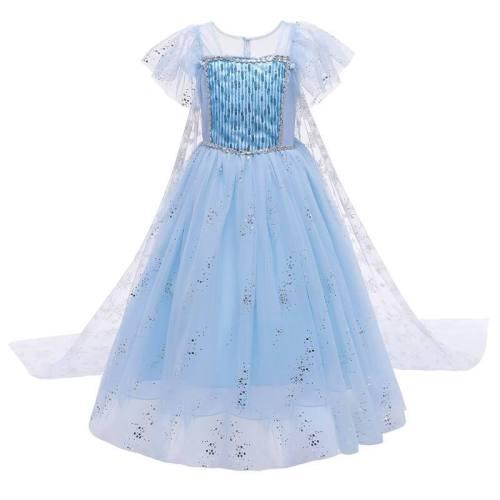 Frozen 2 Kids Princess Elsa Snow Queen Carnival Dress Cosplay Costume