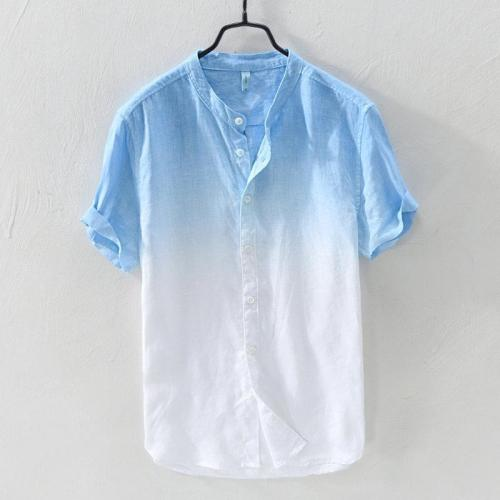 Mens Gradient Color Summer Short Sleeve Cotton Shirt