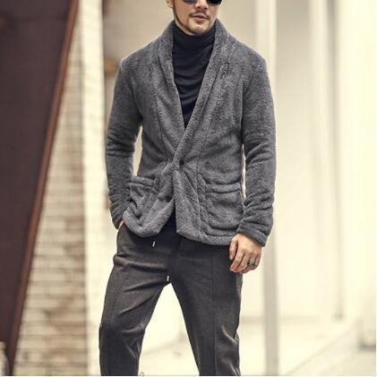 Men Fluffy Woolen Fur Winter Coat