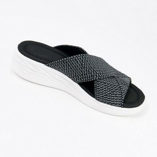 Stretch Cross Ortic Slide Sandals