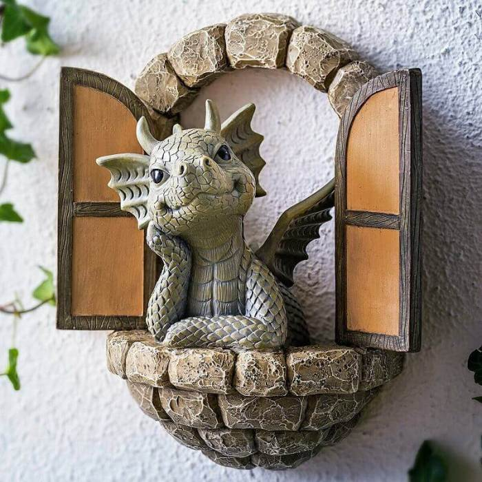 Little Dragon With Butterfly Resin Craft Garden Halloween Decorations