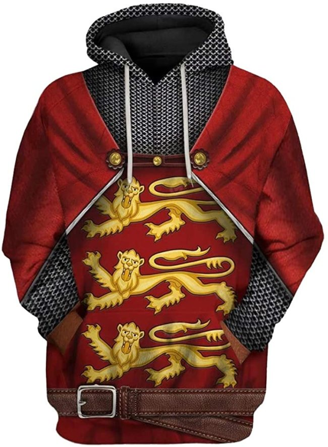 Edward I Historical Figure Red Unisex 3D Printed Hoodie Pullover Sweatshirt
