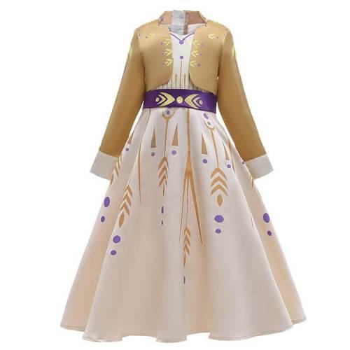 Kids Frozen Princess Anna Dress Halloween Cosplay Costume Outfit