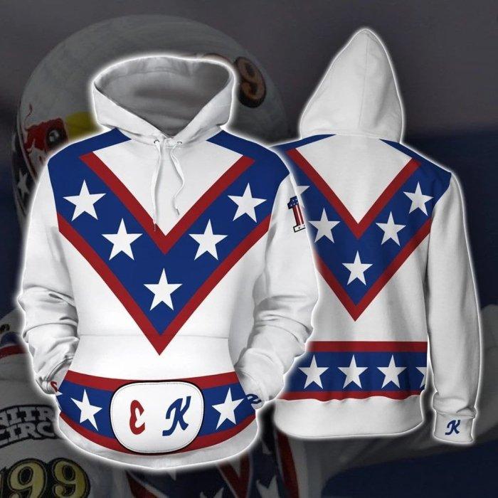 Stunt Star Evel Knievel Cosplay Hoodies Halloween Cosplay Jacket Sweater Zipper Clothing