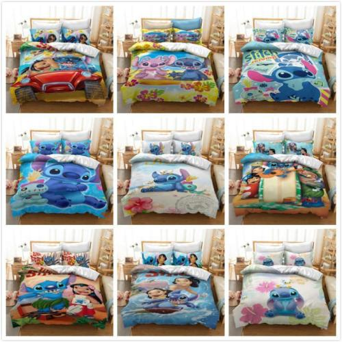 Cosicon Cartoon Stitch Cosplay Duvet Cover Set Halloween Christmas Quilt Cover