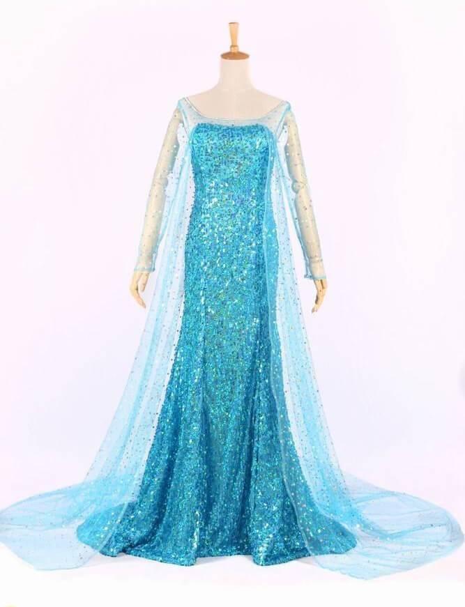 Frozen 2 Snow Queen Princess Elsa Blue Dress Cosplay Costume For Women