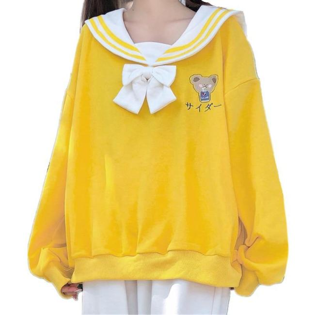 Harajuku Cute Lolita Kawaii Bear Print Sweatshirt Teen Girls Sailor Collar Jk Bowknot Tie Pullover Top Hoodie