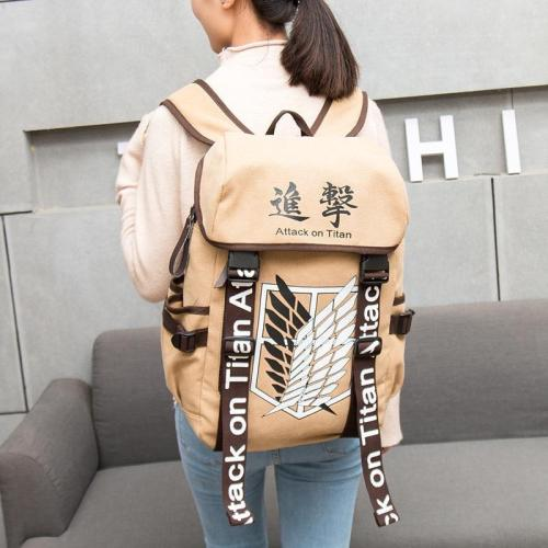 Anime Cosplay Eren Bag Cartoon Canvas Backpack Shingekino Kyojin Schoolbag Shoulders Travel Bags