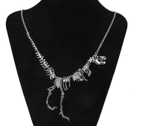 Skeleton T-Rex Silver Necklace