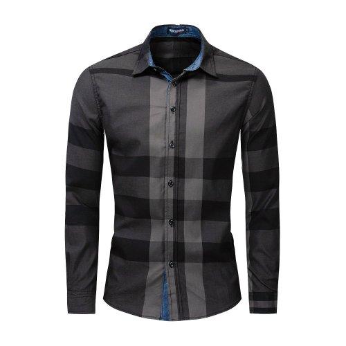 Men'S Cotton Long Sleeved Shirt Color Matching Plaid Shirt