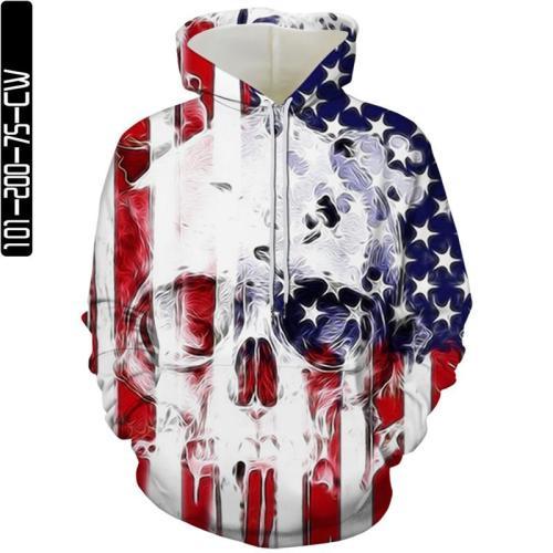 American Flag White Skull Man Head Movie Cosplay Unisex 3D Printed Hoodie Sweatshirt Pullover