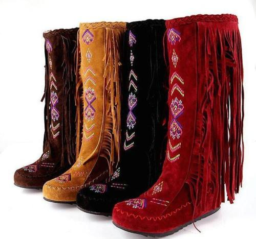 Women'S Native American Moccasin Boots - Knee High Fringe Winter Fashion Indian Boots