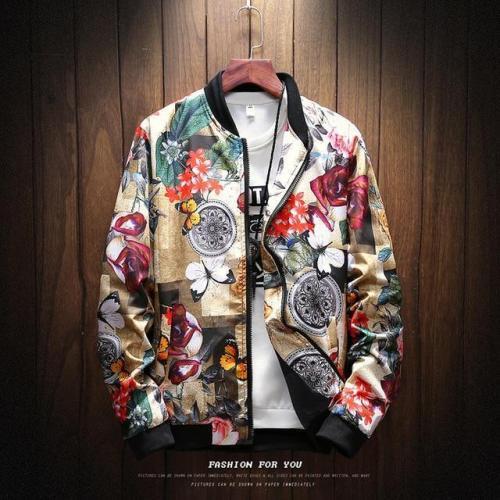 Print Casual Jacket Mens Hip Hop Streetwear Clothes