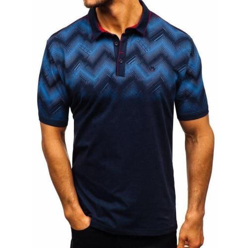 Men'S 3D Gradient Printed Lapel Short Sleeve Polo Shirt