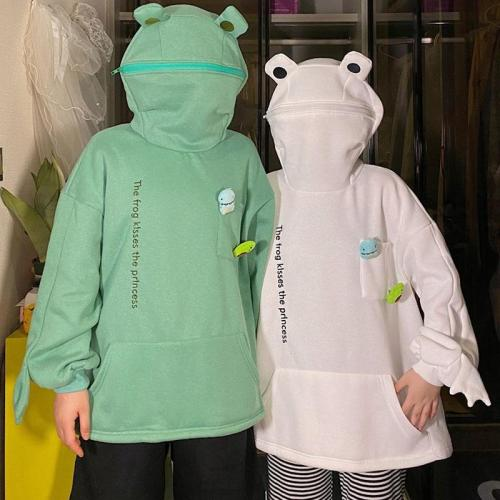 Harajuku Frog Pullover Hooded Casual Sweatshirts Autumn Embroidery Loose Top Doll Decoration Hoodies