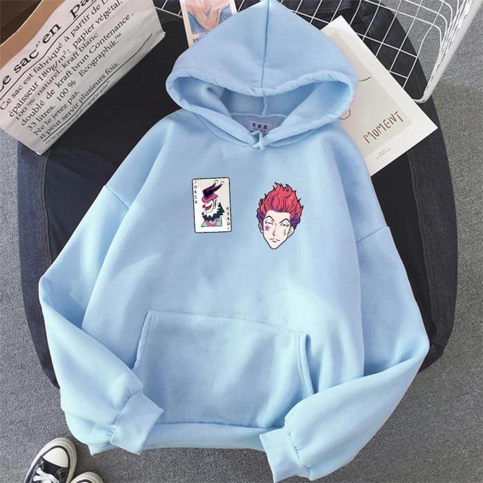 Anime Hoodie Hisoka Print Hunter X Hooded Sweatshirt Haikyuu Pullover Pink Tops Warm Coat