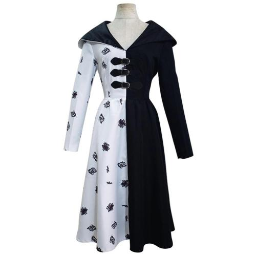 Cruella Black White Dress Outfits Halloween Carnival Suit Cosplay Costume