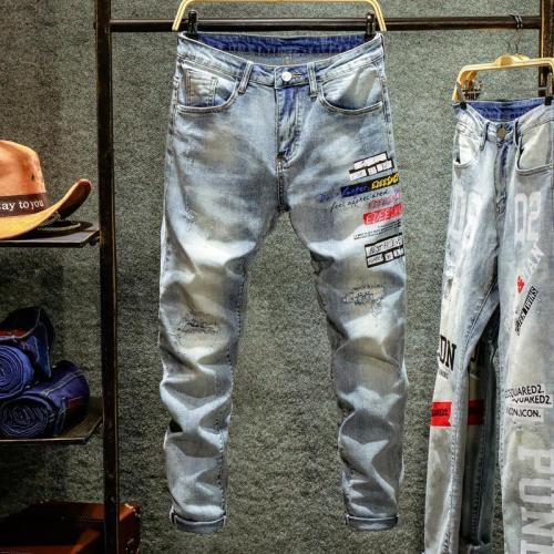 Men'S Summer Thin Section Washed Hole Letter Printed Jeans