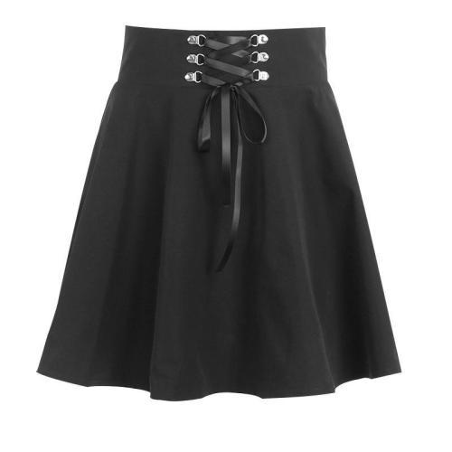Lace Up A-Line High Waist Skirt