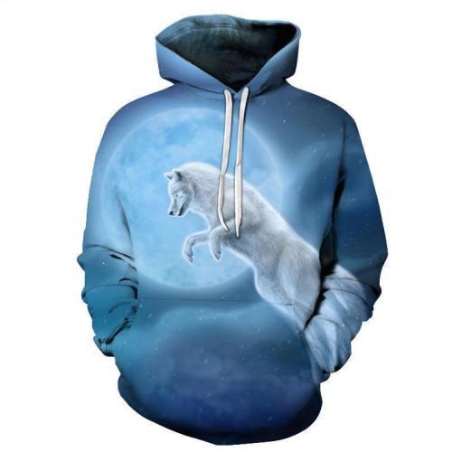 White Wolf Blue Moon 3D Sweatshirt Hoodie Pullover