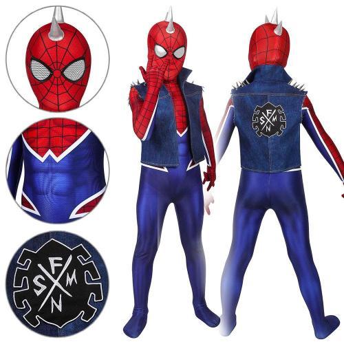 Kids Spider-Man Peter Parker Spider-Punk Suit Ps4 Spider-Man Jumpsuit Cosplay Costume -