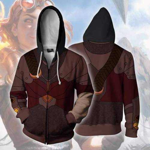 Magic The Gathering Game Dark Red Chandra Nara Cosplay Unisex 3D Printed Hoodie Sweatshirt Jacket With Zipper