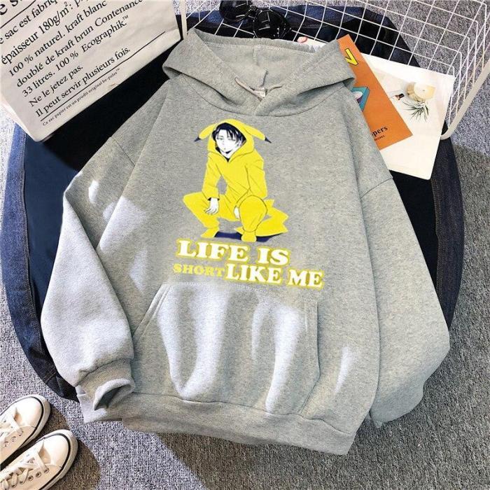 Attack On Titan Lvei Letter Printing Sweatshirt Anime Kawaii Tops Oversize Harajuku Hoodie