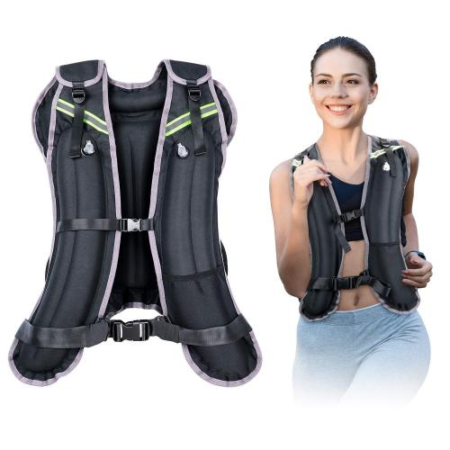 Gpeestrac Sport Weighted Vest Water Filled Adjustable Travel Running Workout Equipment With Reflective Stripe, 4 6 8 12 16 20 24 Lbs Body Weight Vest For Men Women Cardio, Strength Training, Jogging