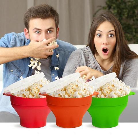 Silicone Popcorn Bucket Bowl Microwave Eco-Friendly Popcorn Bucket Bowl For Food Snacks