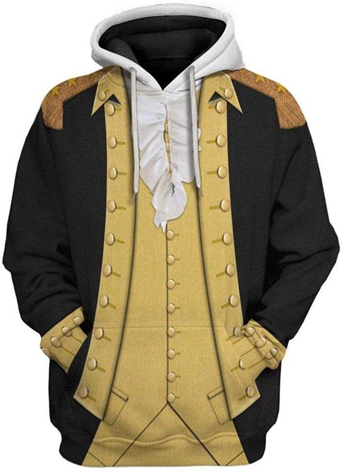George Washington 1 Black Gold Historical Figure Unisex 3D Printed Hoodie Pullover Sweatshirt