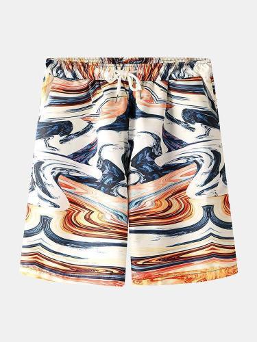 Men Chinese Style Printed Pocket Drawstring Casual Beach Shorts