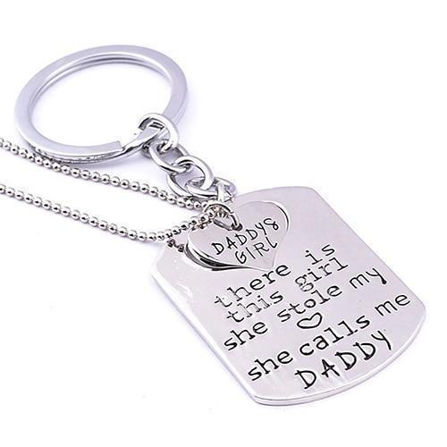 Daddy'S Girl Keychain & Necklace Set