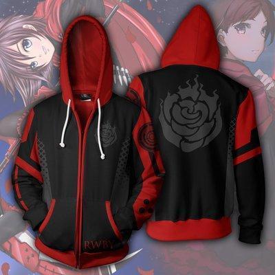 Rwby Anime Crescent Rose Cosplay Unisex 3D Printed Hoodie Sweatshirt Jacket With Zipper