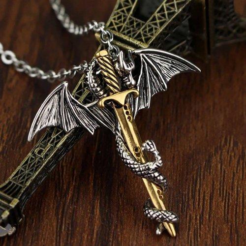Dragon Sword Steel Necklace