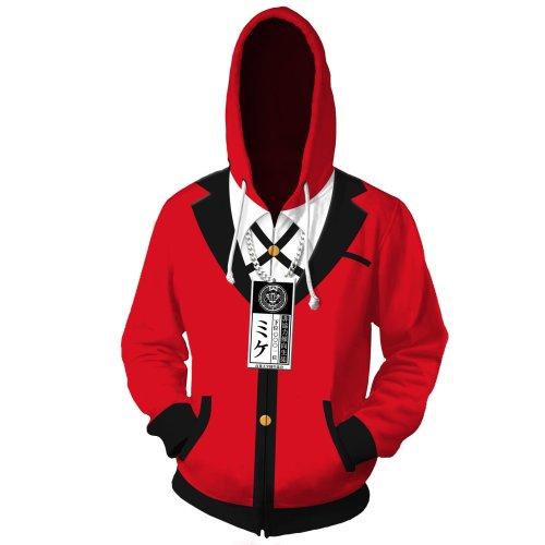 Kakegurui Anime Jabami Yumeko Red Cosplay Unisex 3D Printed Hoodie Sweatshirt Jacket With Zipper