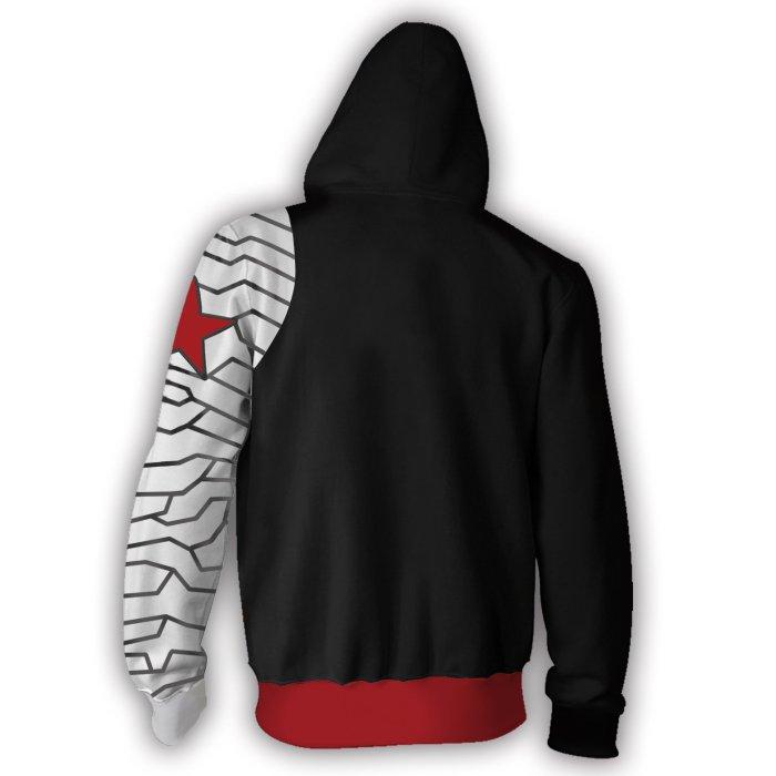 Avengers Movie Winter Soldier White Wolf Bucky Barnes Cosplay Unisex 3D Printed Hoodie Sweatshirt Jacket With Zipper