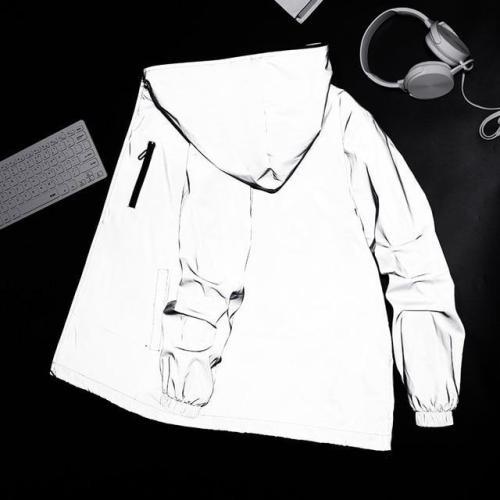 Streetwear Men'S Reflective Jacket Windbreaker Casual Hip Hop Hooded Coats