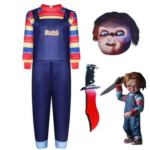 Kids Child'S Play Chucky Buddi Doll Jumpsuit Full Set Cosplay Costume
