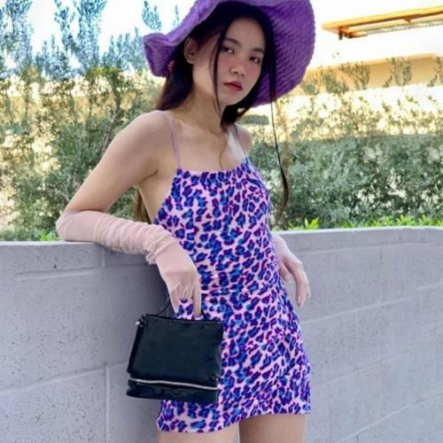 Purple Leopard Velour Dress