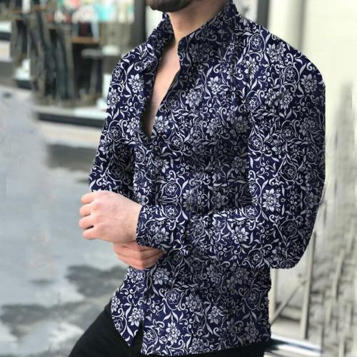 Men'S Casual Printed Floral Long Sleeve Button T-Shirt