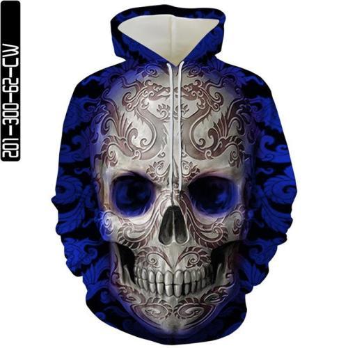 Big Dragon Pattern Skull Man Head Movie Blue Cosplay Unisex 3D Printed Hoodie Sweatshirt Pullover