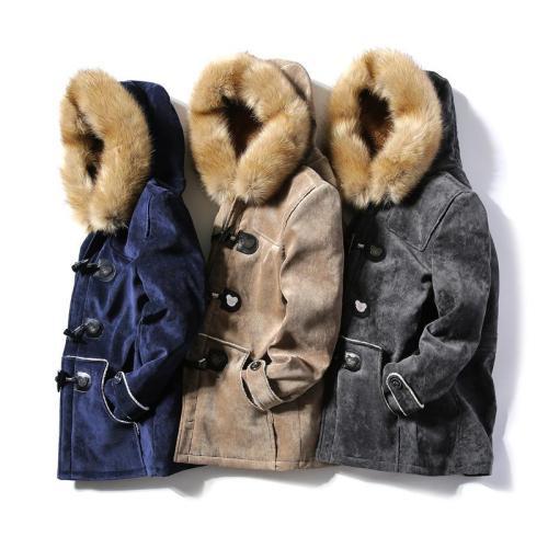 Mens Peacoat Outwear Winter Horn Button Vintage Parkas