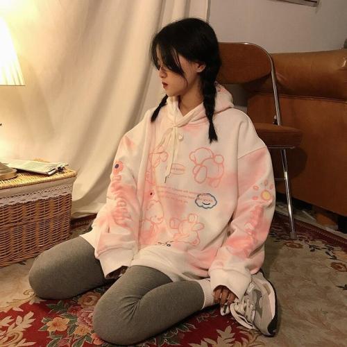 Tie Dye Thick Warm Cute Pink Hoodie Oversize Sweatshirt Hooded Harajuku Vintage Pullover