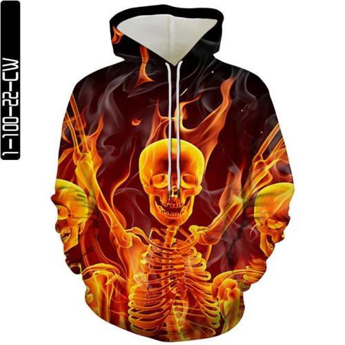 Fire Skull Heads Movie Cosplay Unisex 3D Printed Hoodie Sweatshirt Pullover