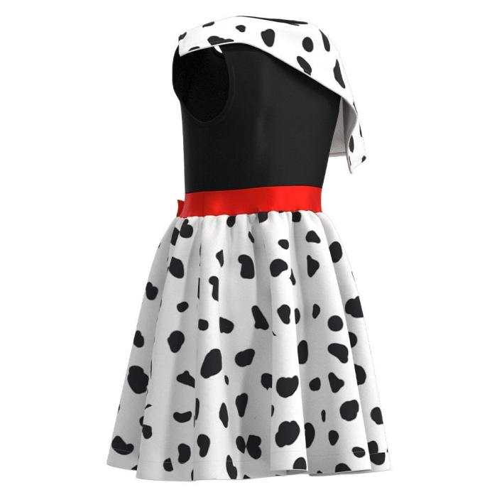 Cruella Spotted Dress Halloween Carnival Suit Cosplay Costume