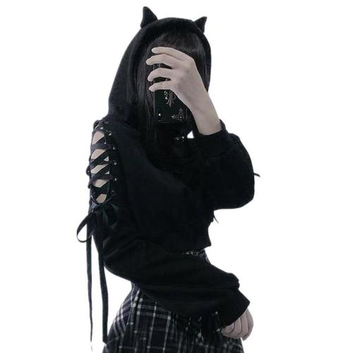 Gothic Women Pullover Devil Ear Hooded Sweatshirt Hollow Out Shoulder Ribbon Lace Up Bandage Long Sleeves Hoodie