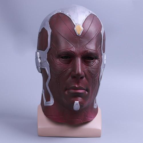Avengers Vision Superhero Mask  Head Halloween Cosplay Helmet Latex